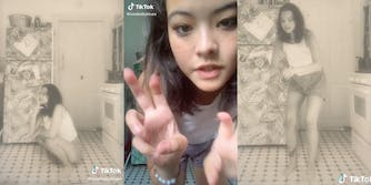 tiktok user @cowbabyblues demonstrates what a stereotypical photo of an asian person in chinatown looks like