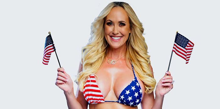 A woman with American flags.