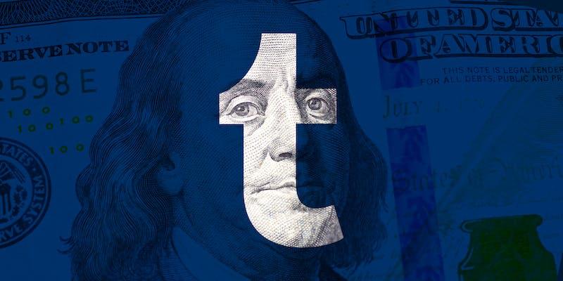 Benjamin Franklin $100 over Tumblr logo