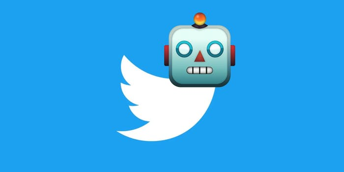 The Twitter logo with a robot emoji
