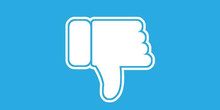 white thumbs-down emoji on blue background