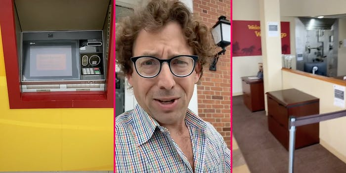 An ATM (L), a man looking into camera (C), and a bank vault (R).
