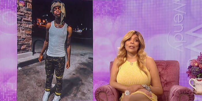 photo of swavy (l) next to sitting wendy williams