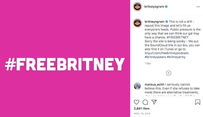 #freebritney image on the britneysgram instagram feed