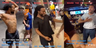 Three panel screenshot from TikTok where family is refused service for clothing. First panel shows man taking off tanktop. Second panel shows man wearing Black shirt traded with mom. Third panel shows restaurant manager standing at doorway of restaurant.