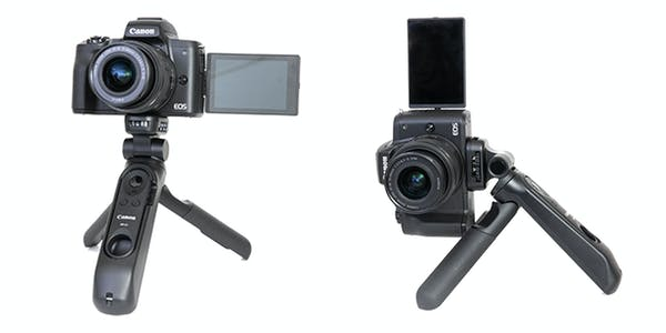 canon eos m50 mark II shown setup with microphone on the flexible tripod