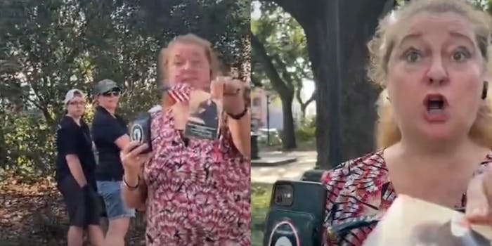 A white woman assaulted a Black woman for refusing to accept the constitution from her