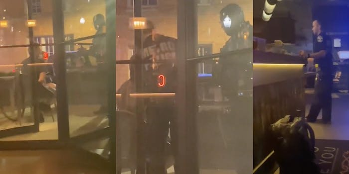 Video shows a man in cuffs outside the Moxy Downtown Louisville with LMPD