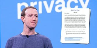 Facebook CEO Mark Zuckerberg next to a screenshot of a letter from Democratic senators asking for more answers about its decision to suspend the accounts of NYU researchers looking at political ads.