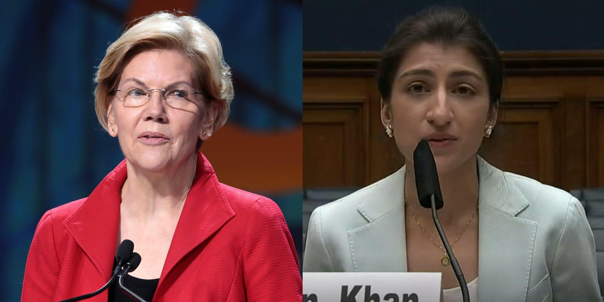A side by side of Sen. Elizabeth Warren and FTC Chairwoman Lina Khan.