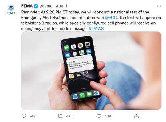 A tweet from FEMA about the Emergency Alert System.