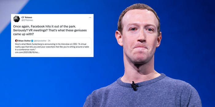 Facebook CEO Mark Zuckerberg next to a tweet mocking the company's VR workrooms announcement.