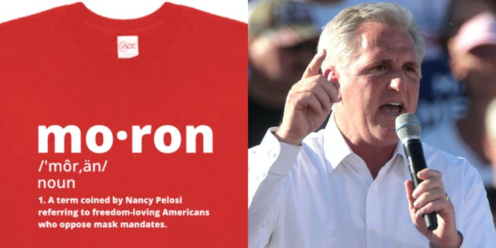 A side by side of House GOP Leader Kevin McCarthy and a t-shirt he is hawking that says moron on it.