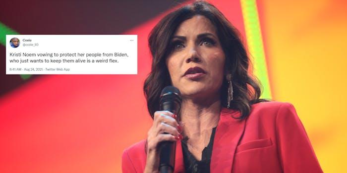 Kristi Noem next to a tweet criticizing her tweet about vaccine mandates.