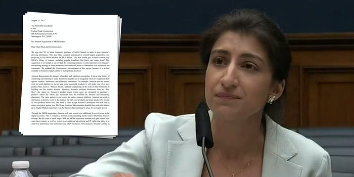FTC Chairwoman Lina Khan next to a letter sent to her by advocacy groups asking for the FTC to block the proposed MGM Amazon deal.