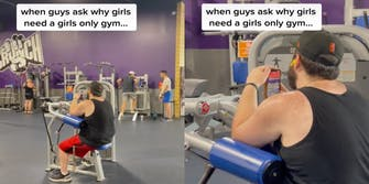 """Two panel screenshot from TikTok where a man is sitting on an exercise machine and taking photos of a girl on Snapchat. The text """"When guys ask girls why girls need a girls-only gym."""""""