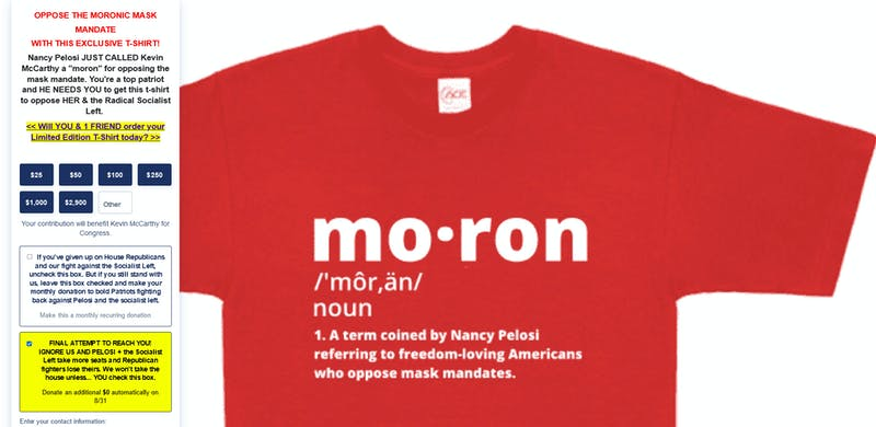 A shirt being sold by Kevin McCarthy that says moron on it.