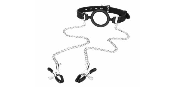 Nipple clips with Open-Mouth Gag