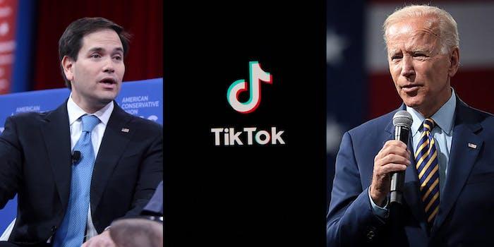 Pictures of Marco Rubio, the TikTok logo, and President Joe Biden.