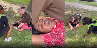 Three panel screenshot from video of Texas deputy officer lying on top of Black woman after possibly walking into traffic on purpose. He is lying on top of her and she is foaming at the mouth, Her mother tries to comfort her by holding her hand.