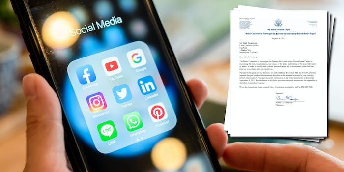 A phone with social media icons on it. Next to it is a letter from the House committee investigating the Capitol riot asking for information from social media companies.