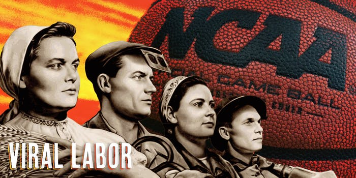 Four young soviets in front of NCAA basketball with caption VIRAL LABOR