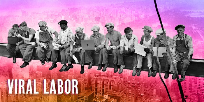 """""""Lunch Atop a Skyscraper"""" photograph of men eating lunch on a girder, updated to contain laptops, tablets, and phones. Caption """"VIRAL LABOR"""""""
