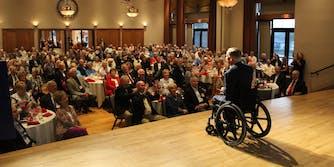 Greg Abbott speaking to a crowd