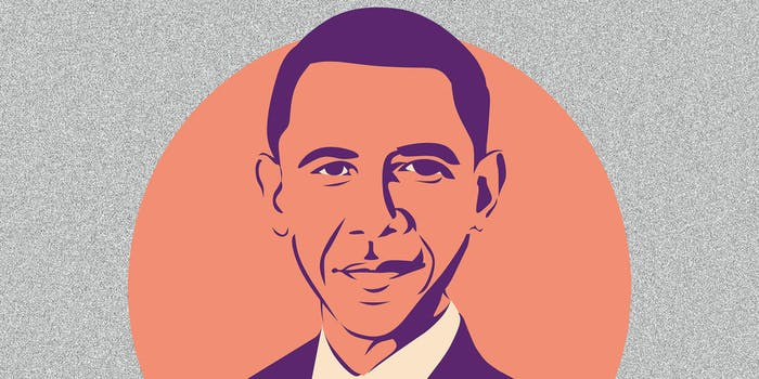 A cartoon portrait of Barack Obama.