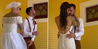 groomsman dressed as bride during first look, real first look with bride,