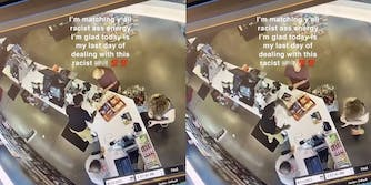 """man putting money into wallet while talking to cashier (l) cashier slaps customer both with caption """"I'm matching y'all racist ass energy I'm glad today is my last day of dealing with this racist shit 100 100"""""""