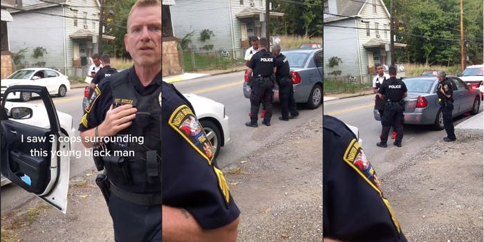 A woman was blocked from recording an interaction between a young Black man and three police officers.
