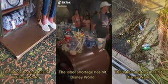 """Feet standing on scuffed platform (l) visitors walking past an overflowing garbage can (c) trash on beach (r) all with caption """"The labor shortage has hit Disney World"""""""