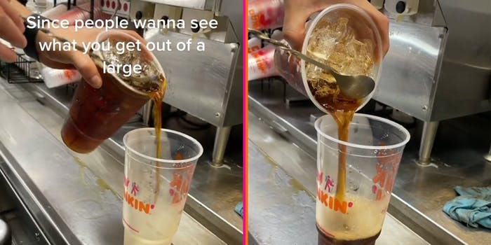 """hand pouring large coffee into empty cup with caption """"Since people wanna see what you get out of a large"""" (l) spoon holding back ice as coffee pours into cup (r)"""