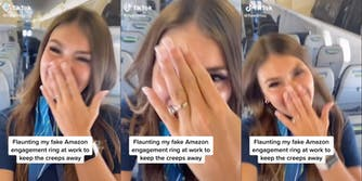 flight-attendant-fake-engagement-ring-tiktok