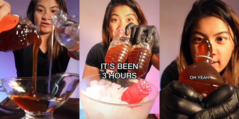 """young woman pouring honey and corn syrup into dish (l) removing bottles with honey from ice bowl with caption """"It's been 3 hours"""" (c) young woman squeezing honey from bottle with caption """"oh yeah"""" (r)"""