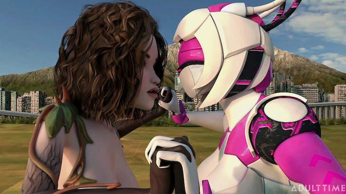 An animated woman kisses a female android in the futa sentai squad scene sexy kiju