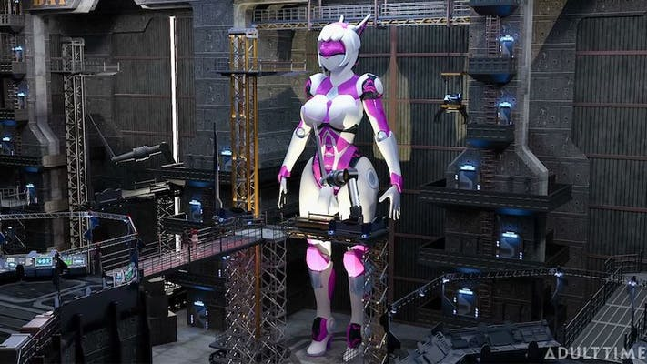 A white and purple android character from f.u.t.a. sentai episode 2