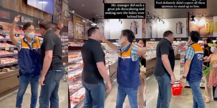 man confronts h mart manager, manager defends women against man
