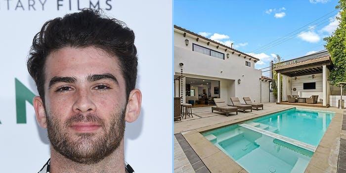 hasan piker house, A man looking into camera (L) and a home pool (R).