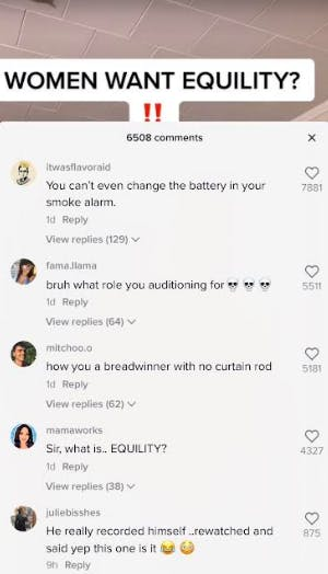 comment section of misogynist tiktok account