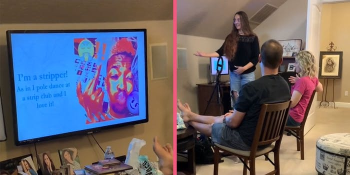 """Television with man giving the finger and caption """"I'm a stripper! As in I pole dance at a strip club and I love it"""" (L) young woman gesturing toward television while her parents sit in chairs watching (r)"""