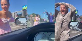 James Corden thrusts his groin at a driver while dressed in a mouse suit, woman in dress sings at driver's window