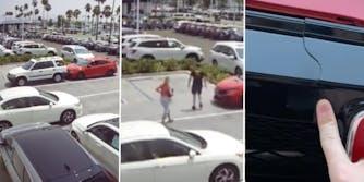 karen hitting man's car, man and karen assessing damage, man pointing out car damage