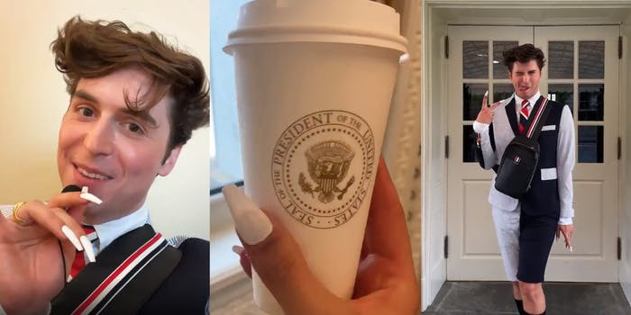 man speaking into microphone with long white nails (l) hand holding coffee cup with Presidential seal (c) man giving peace sign with hand and sticking out tongue (r)