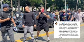 lapd caption blaming saturday's anti-vax protest violence on antifa over a screengrab of alleged proud boys at the protest