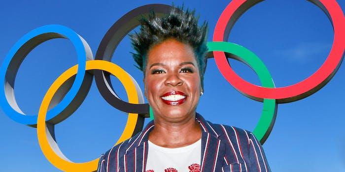 Leslie Jones in front of Olympic rings