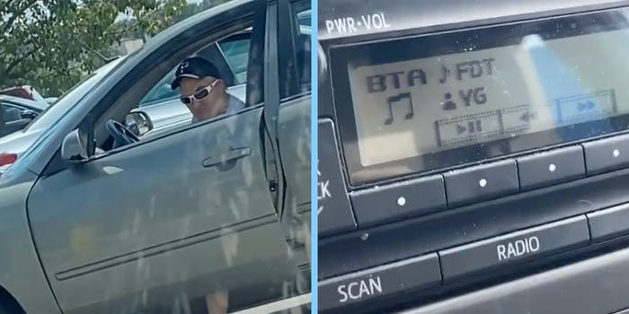 A man in a car (L) and a car stereo (R).