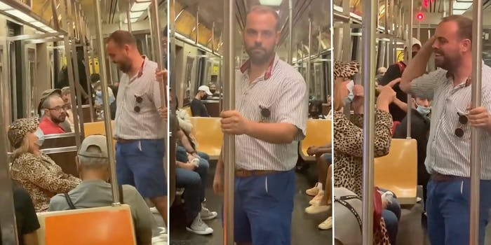 man harrasses elderly woman over her mask on an nyc subway