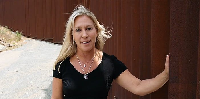 A woman talking into camera.